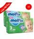 پک دو عددی پوشك بچه مولفیکس سايز 3 (2 بسته 46 عددي در يك پك)Molfix