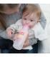 شیشه شیر 2 کاره طلقی باریک 250 میل طرحدار صورتی دکتر براون Dr Brown's Sippy Bottle